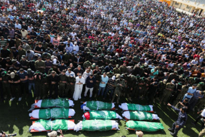 Funeral of Palestinians killed during Israeli- Palestinian fighting, in Khan Younis