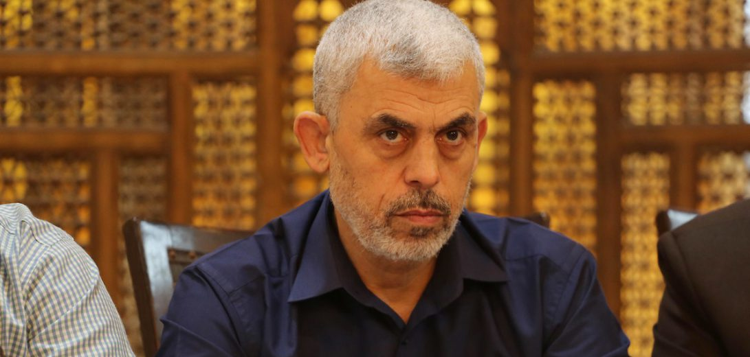 Leader of the Hamas Islamist movement, Yahya Sinwar in the Gaza Strip attends a meeting